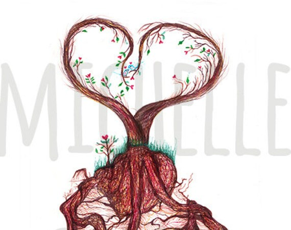 """Pen Drawing Print """"Deep Rooted in Love"""" Signed by Artist Michelle Curiel"""
