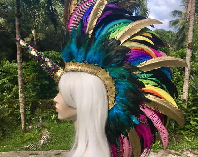 "Made to order: ""Kealohi"" Customizable Unicorn Feather Mohawk / Headdress; festivals, raves, parties, costume, mardi gras, cosplay"