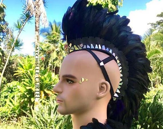 Made to order: Customizable Feather Mohawk / Headdress; goth, festivals, bdsm, raves, parties, costume, mardi gras, cosplay