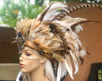 Made to order: Kahikina - Customizable Feather Headdress for Festival, Party, Rave, Photoshoot, Halloween, Performance