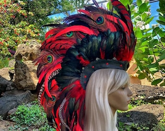 Made to order: Keahilahi - Customizable Feather Mohawk / Headdress for Festival, Party, Rave, Photoshoot, Halloween, Performance