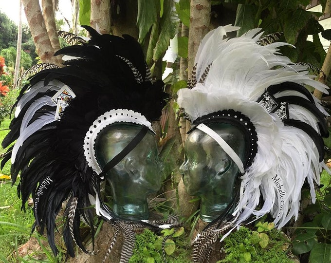 "Feather Mohawk Headdress  - ""The magician"""