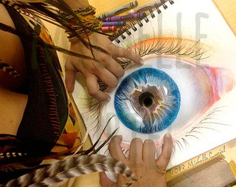 "Crayola Drawing Print ""Open your eyes"" Signed by Artist Michelle Curiel"