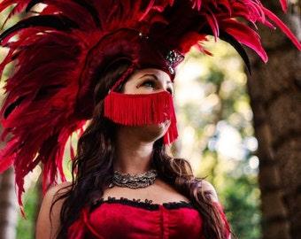 "Customizable Feather Mohawk / Headdress - ""Pele's Passion"""