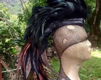 "Customizable Feather Mohawk / Headdress - ""Ravenous"""