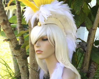"Feather Mohawk / Headdress - ""Cockatoo"" - Made to order - Costume, Halloween, Festival, Rave, Parties, Birthday, Theme Party, Bird lovers"