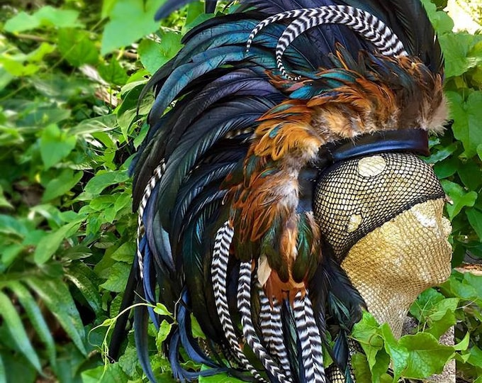 Haku - Made to order - Customizable Feather Mohawk / Headdress for Festival, Party, Rave, Photoshoot, Halloween, Performance