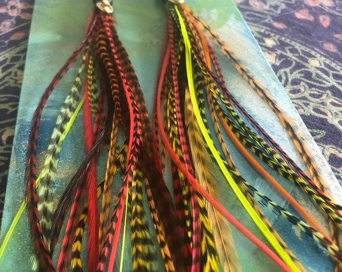 Ready to ship: Hot Lava Feather Earrings