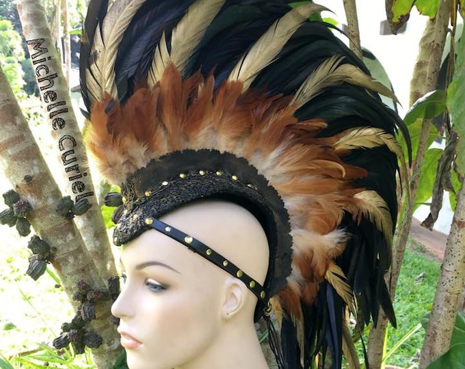 "Customizable Feather Mohawk / Headdress - ""Golden Warrior"""