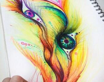 Eye flow freely - 8 x10 Original art (unframed in a 11x14 matt)