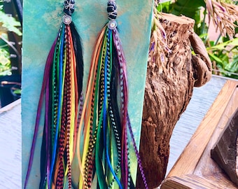 Rainbow Chakra Feather Earrings