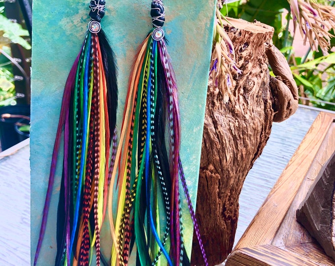Featured listing image: Rainbow Chakra Feather Earrings
