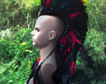 Made to order: Kalihi - Customizable Feather Mohawk / Headdress for Festival, Party, Rave, Photoshoot, Halloween, Performance