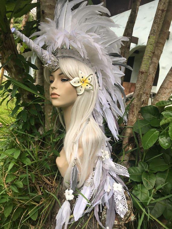 "Made to order: ""Lani"" Customizable Unicorn Feather Mohawk / Headdress; festivals, burning man, raves, Carnivale, costume, cosplay"