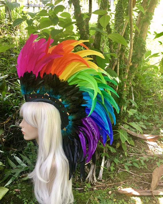 Made to order: Anuenue - Customizable Feather Mohawk / Headdress for Festival, Party, Rave, Photoshoot, Halloween, Performance