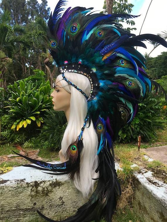 """Made to order: """"Mahina"""" Customizable Unicorn Feather Mohawk / Headdress; festivals, burning man, raves, Carnivale, costume, cosplay"""