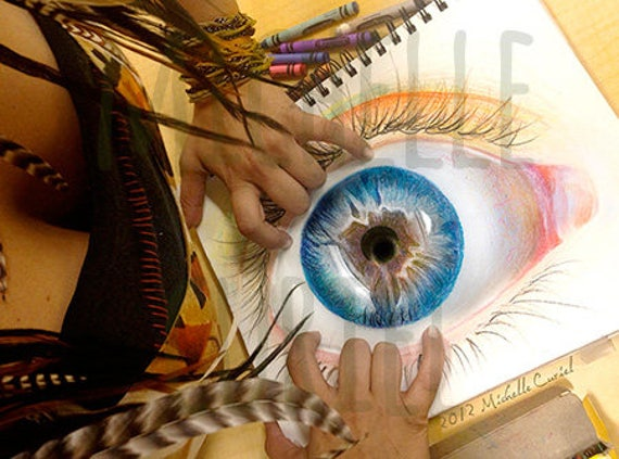 """Crayola Drawing Print """"Open your eyes"""" Signed by Artist Michelle Curiel"""
