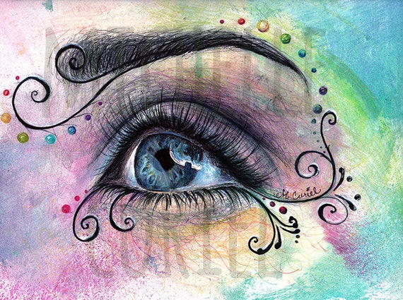 """Multimedia Drawing Print """"1000 wishes"""" Signed by Artist Michelle Curiel"""