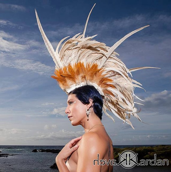 Aliikai - Customizable Feather Mohawk Headdress