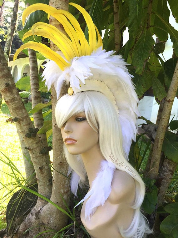 """Feather Mohawk / Headdress - """"Cockatoo"""" - Made to order - Costume, Halloween, Festival, Rave, Parties, Birthday, Theme Party, Bird lovers"""
