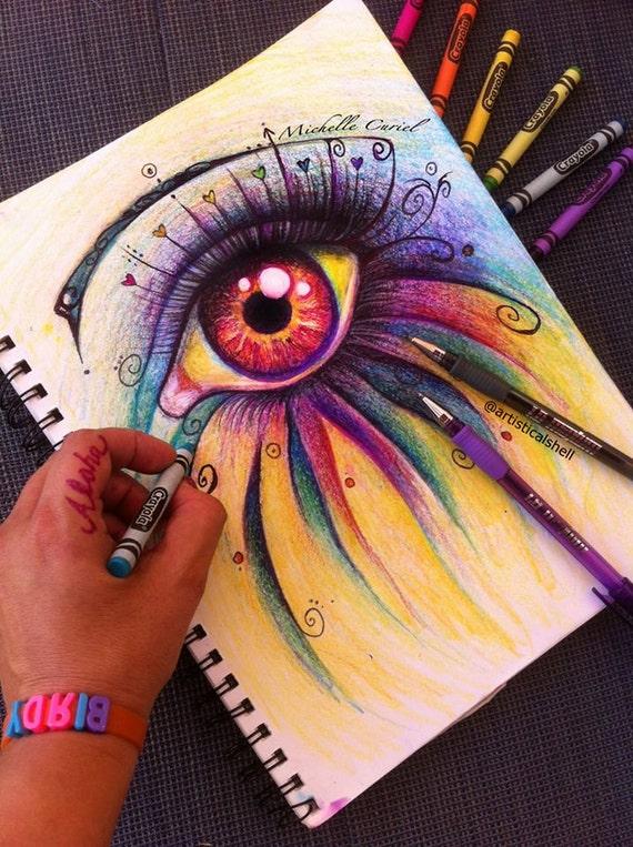 Crayola Eye Drawing - Print Signed by Artist