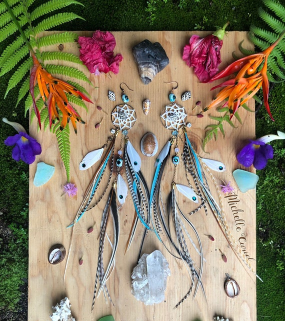 Ready to ship - Dream Catcher Feather Earrings with Hawaiian Drupe Shells