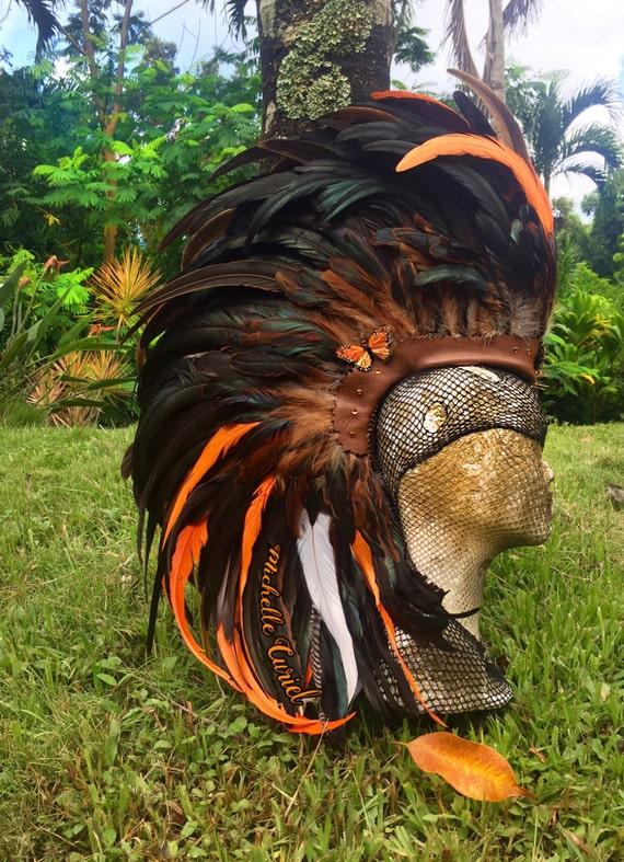"Customizable Feather Mohawk / Headdress - ""Orange Blossom"""