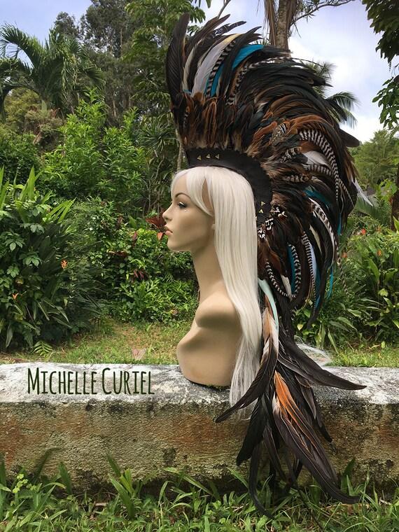 "Made to order - Customizable Feather Mohawk / Headdress - ""Leilani"""