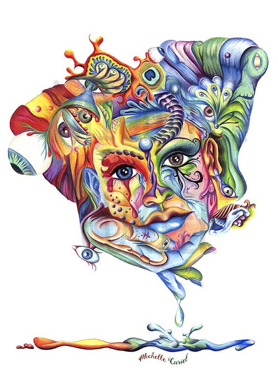 """Colored Pencil Print """"Eye Hold My Head Up High"""" Signed by Artist Michelle Curiel"""