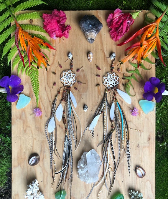 Ready to ship - Dream Catcher Feather Earrings with Hawaiian Puka Shells