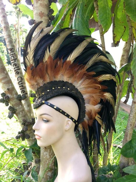 "Customizable Feather Mohawk / Headdress - ""Golden Warrior"""
