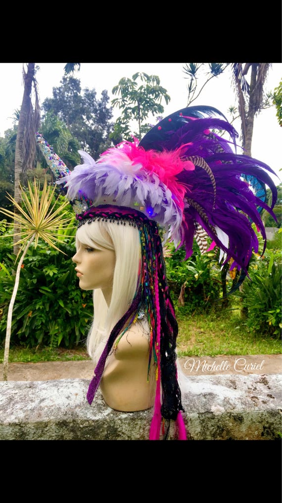 "READY TO SHIP - ""Leilani"" Feather Mohawk / Headpiece; Festivals, Mardi Gras, Masquerade, Cosplay"