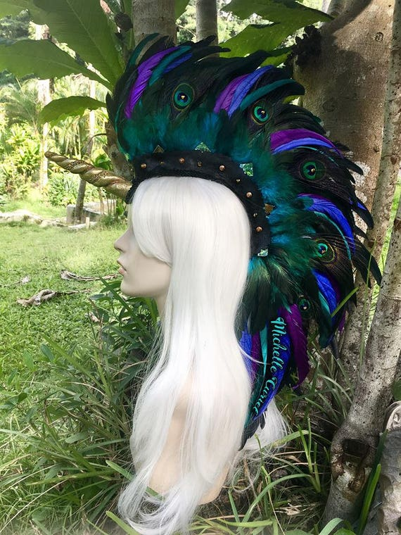 "Made to order: Unicorn Feather Mohawk Headdress  - ""Malani"""