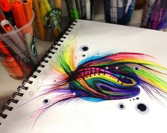 Untitled Rainbow Doodle - 9 x12 Original art (unframed in a 11x14 matt)
