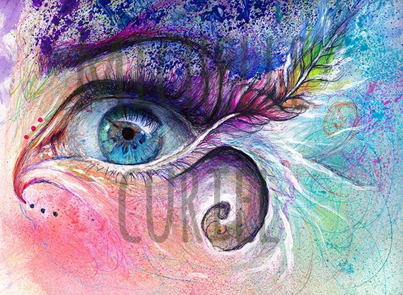 """Multimedia Print Illustration """"The awakening"""" Signed by Artist Michelle Curiel"""