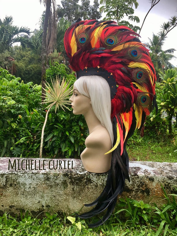 "Made to order: ""Haleakala"" Phoenix Style Feather Mohawk / Headdress"
