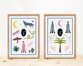 Illustrations, Depeapa, mystic prints, original prints, home decor - TOTEMS -