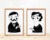 Ilustration, prints, Depeapa, home decor, tea, coffee, home decor, wall decor - The tea hour -