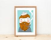 Illustration, depeapa, bearded man, sailor wall art, sailor poster, home decor, wall decor, kids room decor - SAILOR -