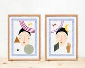 Illustration, Depeapa, prints, illustrations, wall art, home decor, - Cosmic girls -