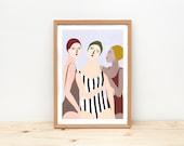 Illustration, Depeapa, women illustration print, wall art, home decor, - SWIMMERS -