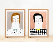 Illustrations, depeapa, home decor, portrait, prints, kids decor - Emilio y Ramón -