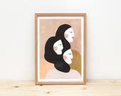 Illustration, Depeapa, sisters, woman illustration print, wall art, home decor, girl art, - SISTERS -