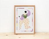 Illustration by depeapa, print, poster, A4 wall art, wall decor, triadic ballet, bauhaus inspiration - Triadic Dancer II -
