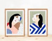 Illustrations, Depeapa, women prints, carnival, wall art, home decor, - WOMEN WITH MASKS -