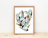 illustration by depeapa, art print, geometric print, mountain wall art, A4 poster, wall decor, home decor - Geometric mountain -