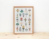 Illustration by depeapa, wall art, home decor, wall decor, art print, - Jellyfish -