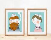Prints by Depeapa - Bon voyage illustration - illustration, home decor, wall art