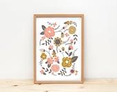 Illustration, depeapa, flowers print, botanic print, home decor, wall art - Flowers -