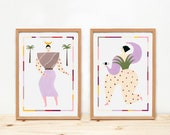 Illustrations, Depeapa, triadic ballet, bauhaus, women prints, wall art, home decor, - TRIADIC DANCERS -